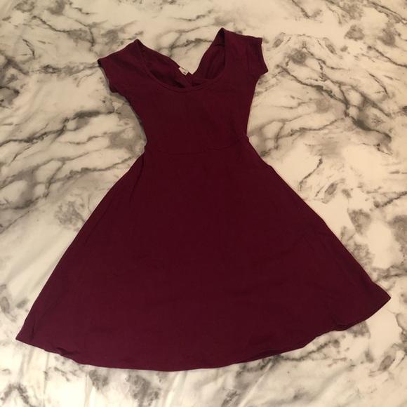 XS Garage Burgundy Open Back Dress